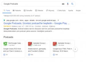 google podcasts aranma sonuçları görünümü